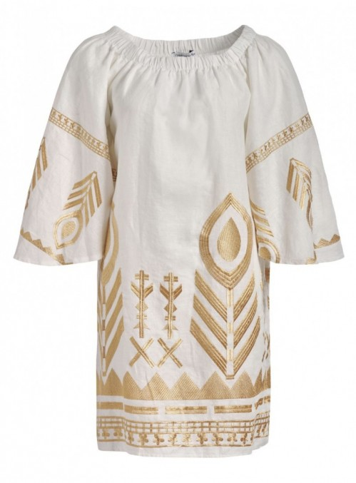 White/Gold Embroidered Dress