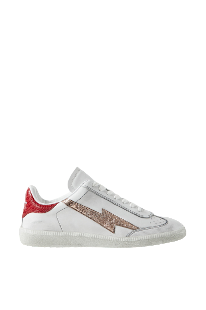 Bryce distressed metallic-trimmed snake-effect and smooth leather sneakers