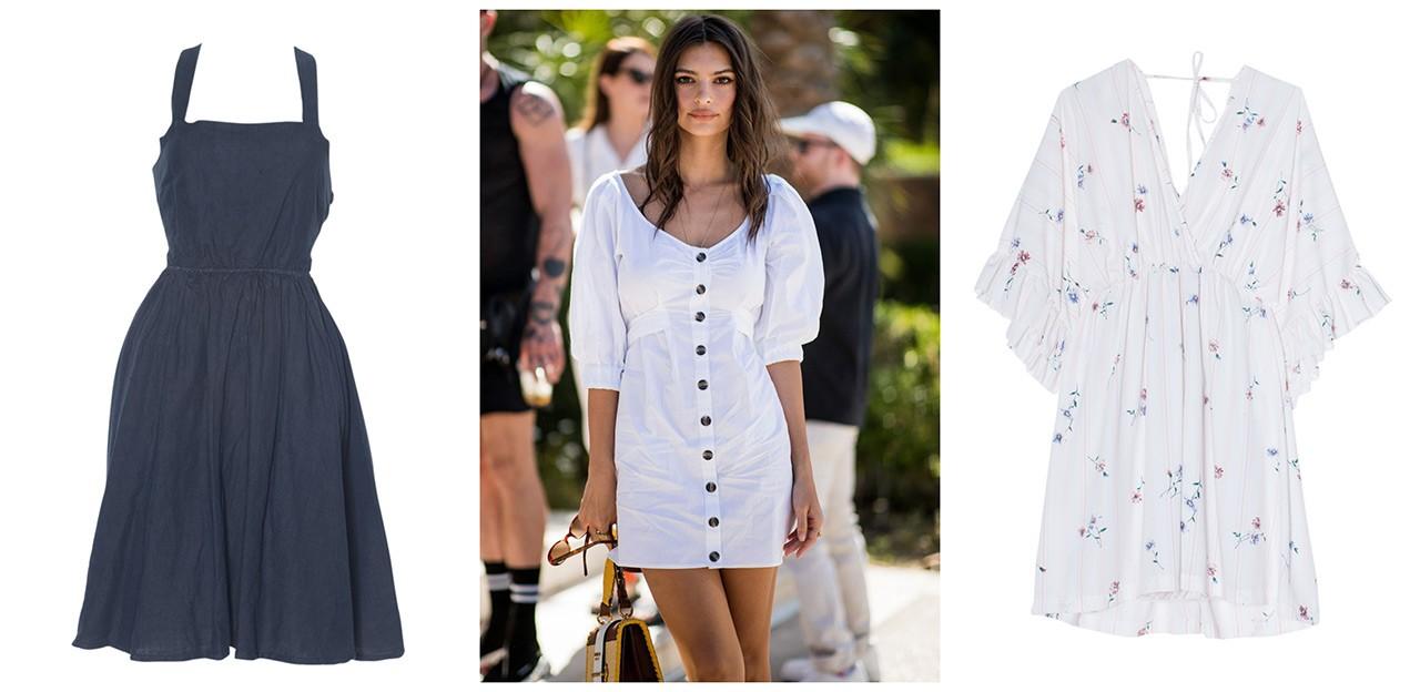 (Λινό φόρεμα με τιράντες χιαστί και Φλοράλ φόρεμα με βολάν στα μανίκια 9711732b352