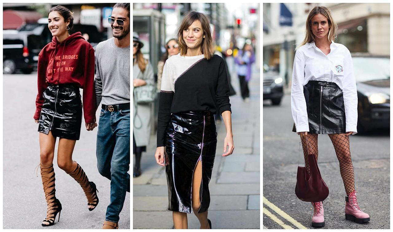 Μάθετε πώς θα συνδυάσετε τη vinyl φούστα σαν τις street style stars ... 8b4cbda2169