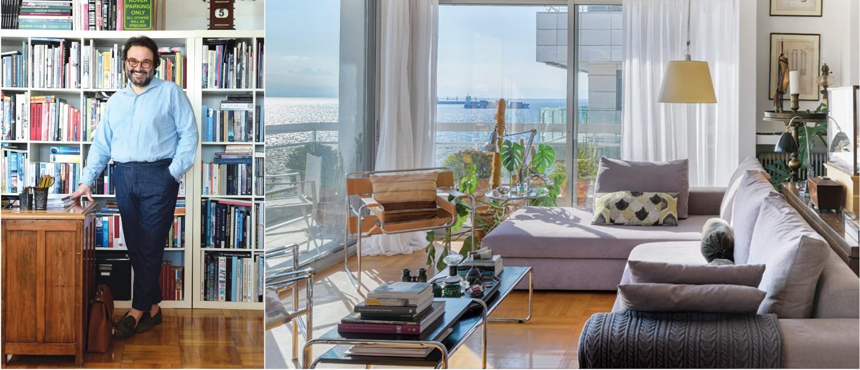 O επιχειρηματίας Νικόλας Ναβροζίδης μας υποδέχεται στο σπίτι του, όπου απολαμβάνει μια συγκλονιστική θέα στον παραλιακό ορίζοντα της Θεσσαλονίκης