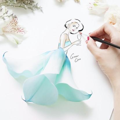 Η Grace Ciao δημιουργεί fashion illustrations με φρέσκα λουλούδια